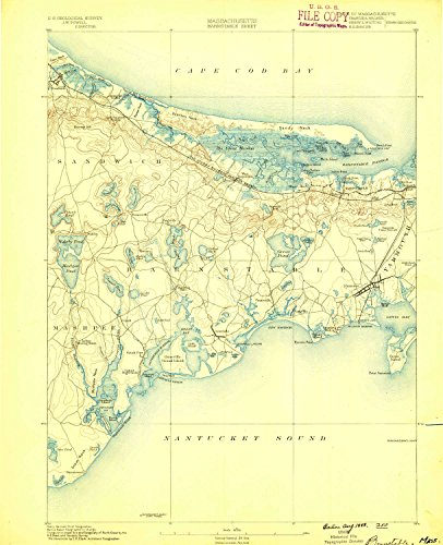 Aerial Topo Maps (Barnstable MA topo map, 1:62500 scale, 15 X 15 Minute, Historical, 1888, 19.4 x 15.8 IN - Paper)