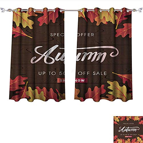 PRUNUS Window Curtain Fabric Autumn 09 Blackout Window Curtain Panel W63 x L63/Pair -