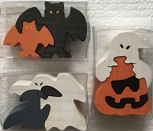 Set of Three (3) Small Wooden Halloween Puzzles - Selection D