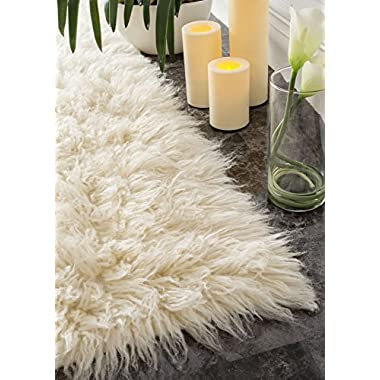 Hand Woven Flokati Shag New Zealand Wool Natural Shag Runner Area Rugs, 2 Feet 6 Inches by 8 Feet (2' 6  x 8')