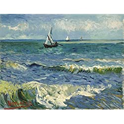 Wieco Art Seascape at Saintes Maries by Vincent Van Gogh Oil Paintings Reproduction Modern Wrapped Giclee Canvas Prints Sea Pictures on Canvas Wall Art for Living Room Home Office Decorations