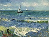 Wieco Art – Seascape at Saintes Maries by Vincent Van Gogh Oil Paintings Reproduction Modern Giclee Canvas Prints Sea Pictures Paintings on Canvas Wall Art for Home and office Decorations Picture
