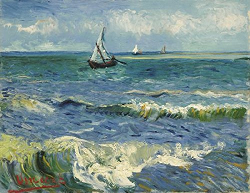 Wieco Art Seascape at Saintes Maries by Vincent Van Gogh Oil Paintings Reproduction Modern Wrapped Giclee Canvas Prints Sea Pictures on Canvas Wall Art for Living Room Home Office (Panel Photo Christmas Cards)