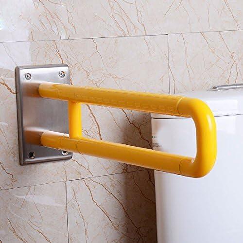 浴室用手すり お年寄りは便器の手すりに乗ってトイレのトイレを手に入れて手を握って手を引っ張る,黄色