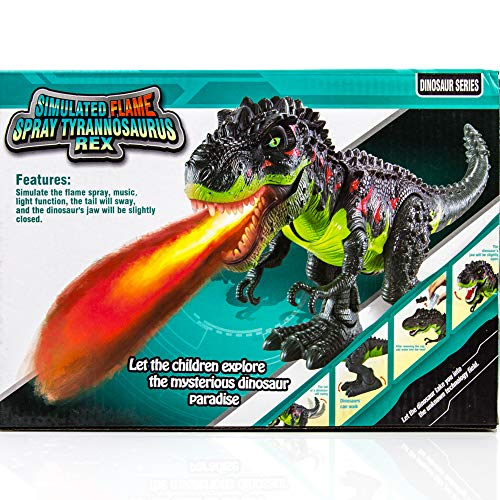 Toysery Simulated Flame Spray Tyrannosaurus T-Rex Dinosaur Toy for Kids - Walking Dinosaur Fire Breathing Water Spray Mist with Red Light & Realistic Sounds by Toysery (Image #4)