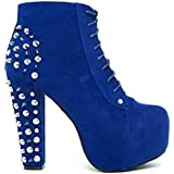 Lace up Platform Ankle Round Toe Booties + Studded Spike