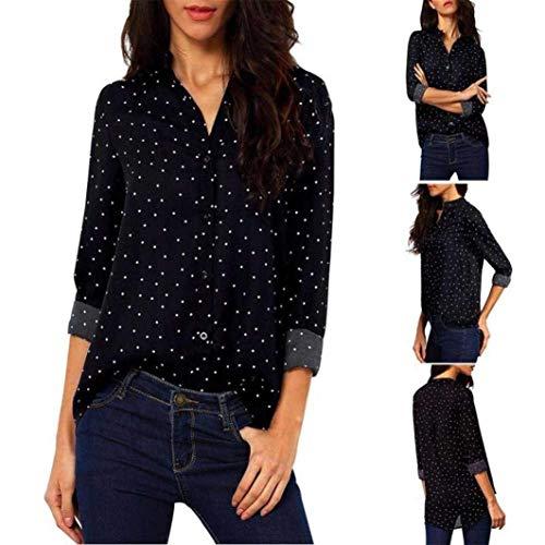Top Debout Dsinvolte Automne Dots Irregular Col Chic Trendy Fashion Mousseline Polka Longues Manches Femme Shirt Hipster Shirts Costume T lgant Blouse Schwarz Printemps Haut r8nrTqxH