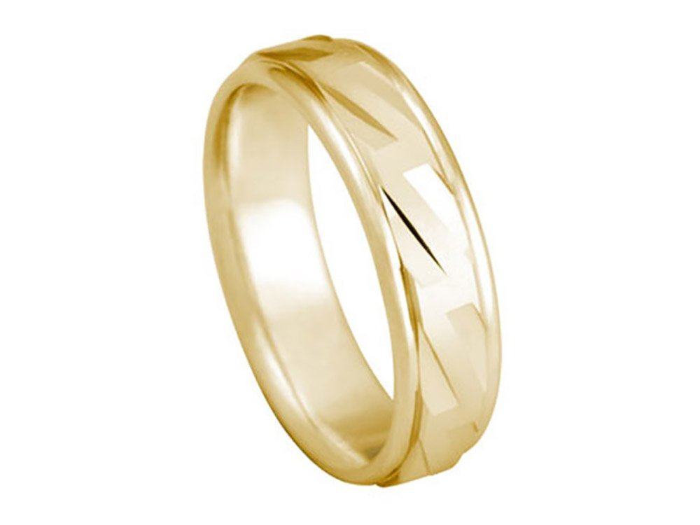 Men's 18K YELLOW GOLD DIAGONAL CUTS 6mm COMFORT FIT WEDDING BAND size 8