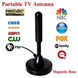 SongBot High Gain 50 Miles Digital TV Antenna Portable Indoor Outdoor Free Channels HDTV Antenna for USB TV Tuner ATSC Television PCI/USB TV Tuner 9.8 ft Cable (With Magnetic Base)