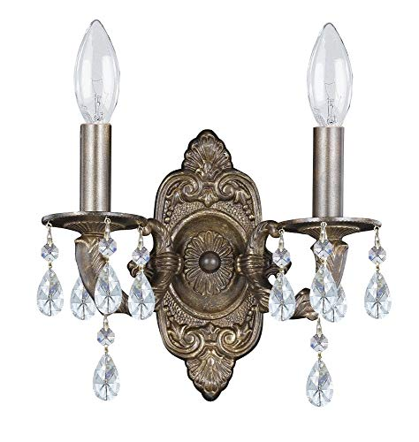 Crystorama 5022-VB-CL-MWP Crystal Accents Two Light Sconces from Sutton collection in Bronze/Darkfinish, 5.50 inches