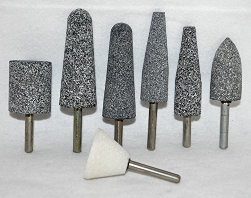 7 Pcs Set of Large 2 3/4'' Mounted Points - Abrasive Grinding Stone Bits with 1/4'' Shank by Mounted Grinding Points