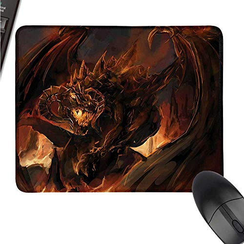 Dragon Mini Mouse pad World Demonic Angry Molten Dragon with Horns Burning in Flames Imaginary Inferno Beast W16xL23.5 (inch)