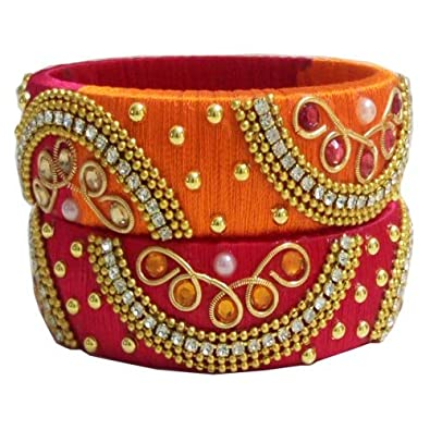 buy jewellery india amazon thread bangles at prices silk bluejays store online bangle women for orange hub low plastic dp in