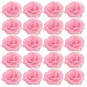 zzJiaCzs 20Pcs 8cm Artificial Rose Flower, Cloth DIY Roses Artificial Flower for Wedding Bride Bouquet Party Decor - Pink 109