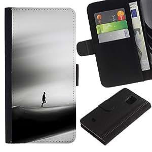 Be Good Phone Accessory // Caso del tirón Billetera de Cuero Titular de la tarjeta Carcasa Funda de Protección para Samsung Galaxy S5 Mini, SM-G800, NOT S5 REGULAR! // Sad Dune Deser