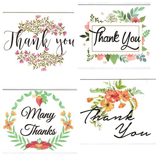100 Thank You Cards Bulk Pack notes Set Box - Blank Thank You Notes - Floral Water Colors - 4 X 6 Inches Thick White Note And Envelope - Personal And Business Use - Wedding And Baby Showers