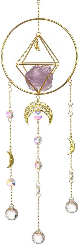 Original Design Angel Reiki amathyst, Handmade Gold-Plated Moon Phase Sun Trap, Colored Crystal Sunshade, Prism Sunshade, Window Hanging, Home Decor, Crystal Window Decoration, Fairy Gift