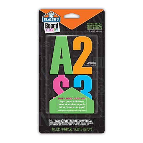 Elmer's E3068MQ Board Mate Repositionable Paper Letters and Numbers, 308 Glue and Stick Pieces, 2.5-Inch, Bright's