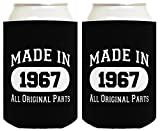 50th Birthday Gift Coolie Made 1967 Can Coolers Coolies 2 Pack Black