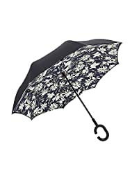 Windproof Reverse Folding Double Layer Inverted Umbrella with C-shaped Hands Free Handle for Travel (lily)