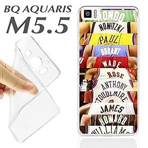 J429 BQ AQUARIS M5.5 M 5.5 CARCASA FUNDA TPU ESTRELLAS NBA BALONCESTO DEPORTE