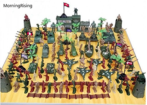 MorningRising 146 PCS WWII Set Army Men,War Soldiers with Handbag,Toy Soldiers Set,Gift for Kids