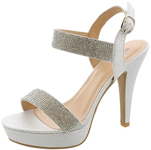 (Cambridge Select Women's Open Toe Crystal Rhinestone Chunky Platform Tapered High Heel Sandal,8 B(M) US,Silver)