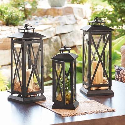 Hanging or Place on TabletopCrossbar Metal Outdoor Lantern Medium