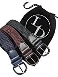 Black Navy Blue Brown 3 Pack Braided Elastic Belts Size Large