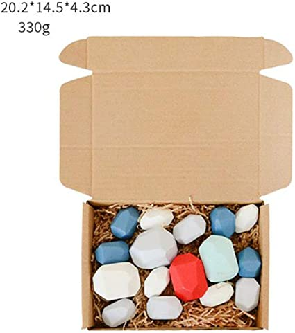 Children/'s Toy Colored Wooden Stone Balancing Stacked Brick Building Blocks