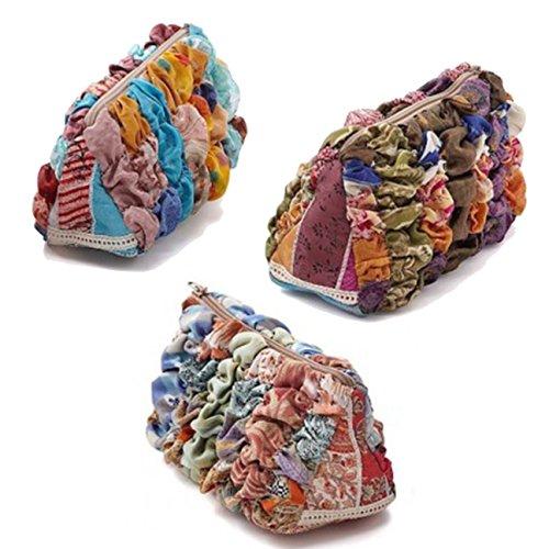Recycled Silk Sari Makeup Bag - Travel Accessories Bag - Hand Clutch
