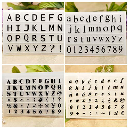 Kwan Crafts 4 Sheets Different Style English Alphabet Capital Lower Case Number Clear Stamps for Card Making Decoration and DIY Scrapbooking