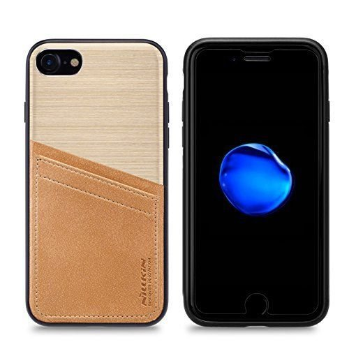 Nillkin Case for Apple iPhone 8 / Apple iPhone SE2 SE 2 iPhone SE 2020 (4.7″ Inch) Classy Back Business Case with Card Storage with PC + Leather + TPU + Aluminium Finish Gold Color