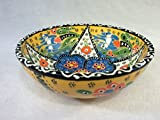 Alissar International 16.2''/16 cm Ceramic Handmade Bowl with Decorated Back (Yellow)