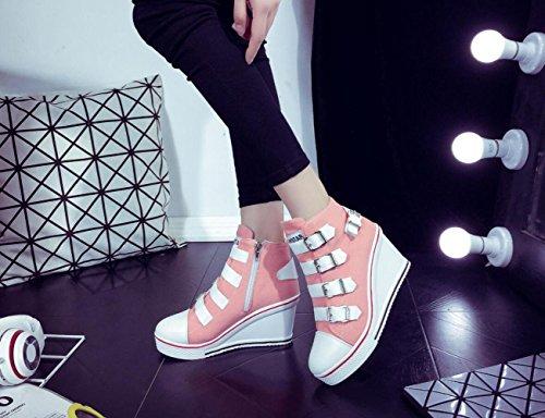 de Zapatos de Deporte con Deporte Zapatillas de de los de Mujeres Tamaño 40 Las Lona Las 43 de Zapatillas de Talones los la Las 8cm Cremallera Pink de Cordones Ocasionales de Zapatos de Zapatos los UxRw7