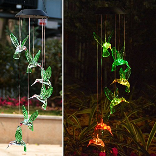 Birthday Gifts For Mom - Chasgo Solar Hummingbird Wind Chime Color Changing Solar Mobile Wind Chime Outdoor Mobile Hanging Patio Light