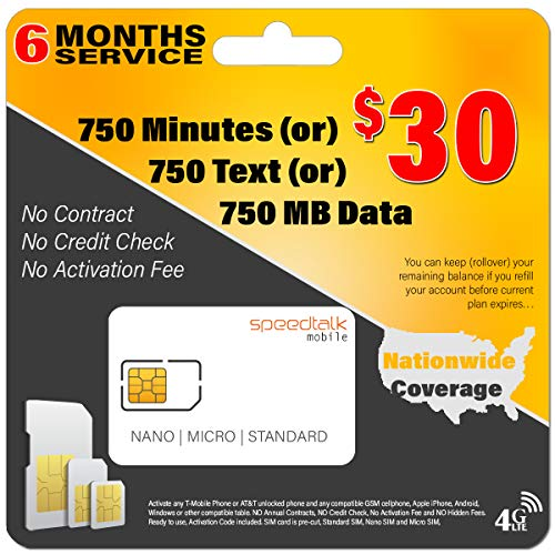 (6 Months Service - $30 Preloaded GSM Mobile SIM Card - Rollover Plan - No Contract)