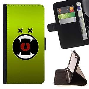 For LG G3 Case , Monstruo Verde de la historieta de la boca del vampiro- la tarjeta de Crédito Slots PU Funda de cuero Monedero caso cubierta de piel