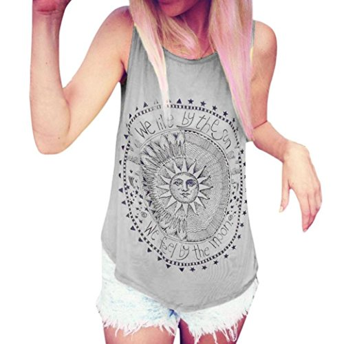 CUCUHAM Sexy Women Sun Printed Blouse Sleeveless Vest Tee Shirt Blouse Casual Tank Tops(XX-Large,Grey  (Velvet Jeans Silk)