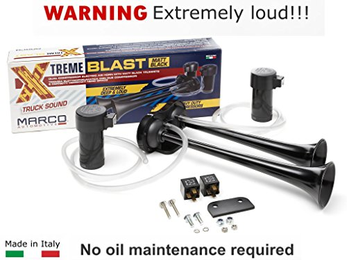 Super Loud 148DB Marco Extreme Blast Premium Air Horn Car Truck SUV (BLACK MATTE) (Best Air Horn For Car)