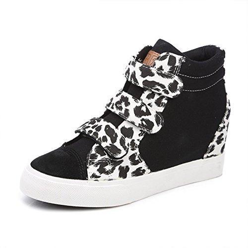 zapatos de lona de mujeres/Tendencia otoño leopardo imprimir Velcro zapatos mujer/Aumento en los zapatos de suela gruesa con zapatos altos B