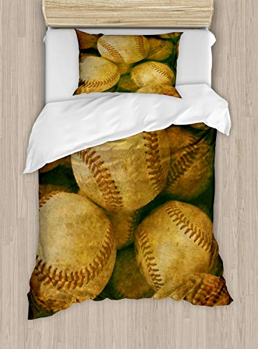 Ambesonne Vintage Duvet Cover Set Twin Size, Vintage Baseball Background American Sports Theme Nostalgic Leather Retro Balls Artwork, Decorative 2 Piece Bedding Set with 1 Pillow Sham, Brown Yellow