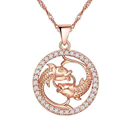 Uloveido Rose Gold Plated Pisces Zodiac Pendant Necklace for Women Birthday Gift, Cubic Zirconia Fish Design Constellation Necklace Pendant for Girls Mom Friend Gift N1047