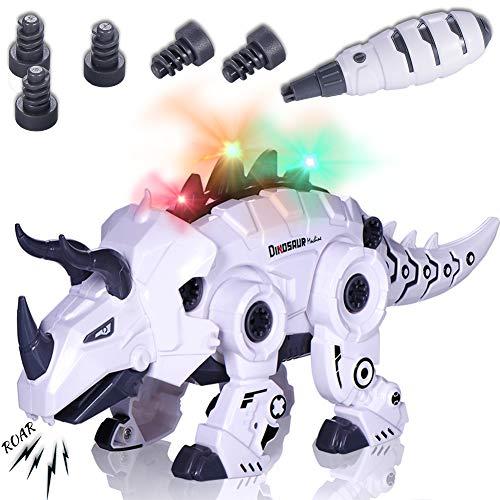 BEESTECH LED Walking Robot Dinosaur Toy, Take Apart Dinosaur Toys for 3, 4,5,6 Year Old Boys with Roar Sound, Colorful Lights, Toys for 4, 5 Year Old Boys Girls