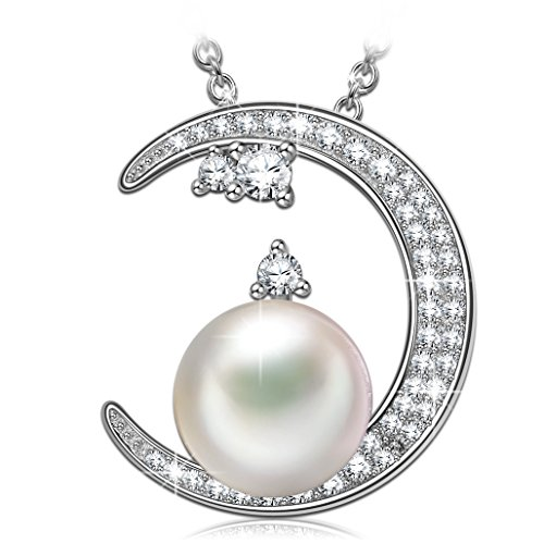 J.NINA FBA -Goddess of The Moon- Choker Chain with White Pearl Necklace for Girls Crystals from Swarovski, Crystal Pendant Necklace, Best Jewelry Gifts for Teen Girls