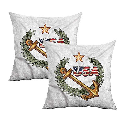 (Khaki home US Navy Square Kids Pillowcase Laurel Wreath Lone Star USA Square Kids Pillowcase Cushion Cases Pillowcases for Sofa Bedroom Car W 14