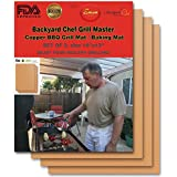 Backyard Chef Grill Master Copper Grill Mat - Baking Mats - Set Of 3 - Best Gifts for Men - Premium Non Stick BBQ Grill Mats - Heavy Duty - Reusable - Great Gift Idea Best Grilling Accessories