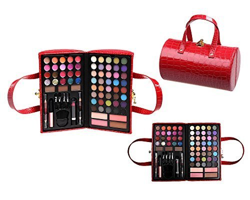 Cameo Cosmetics Pro Make Up Set with Reusable Red Purse Carrying Case Premium Collection, 76 Piece