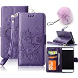 Galaxy J3(2015) Wallet Case,Vandot Luxury Vintage Emboss Flower Love Heart Case PU Leather Flip Folio Stand Magnetic Cover Skin For Samsung Galaxy J3 (2015) with Wrist Strap+Fashion Pompon Ball Pendent-Purple