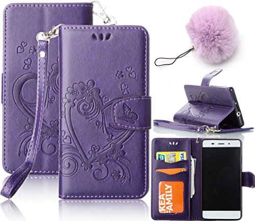 Galaxy J3(2016) Wallet Case,Vandot Luxury Vintage Emboss Flower Love Heart Case PU Leather Flip Folio Stand Magnetic Cover Skin For Samsung Galaxy J3 (2016) J320 with Wrist Strap+Fashion Pompon Ball Pendent-Purple